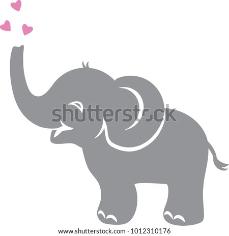 Funny baby elephant with hearts. Vector