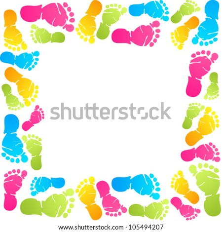 Royalty Free Stock P Os And Images Funny Baby Foot Prints Vector Frame Hqstockp Os Com