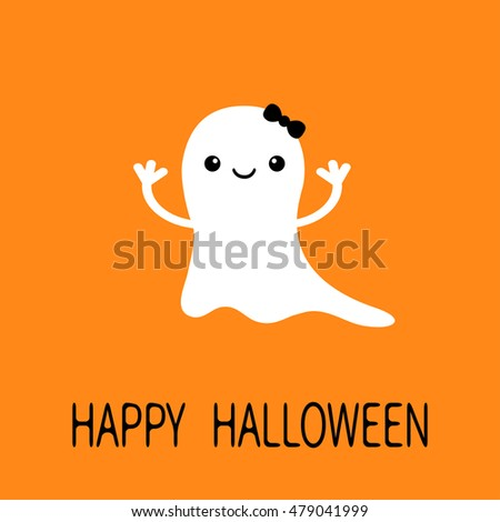 Stock Photo Funny baby girl ghost with black bow. Smiling face. Happy Halloween. Greeting card. Cute cartoon character. Scary spirit. Kids collection. Orange background. Flat design. Vector illustration
