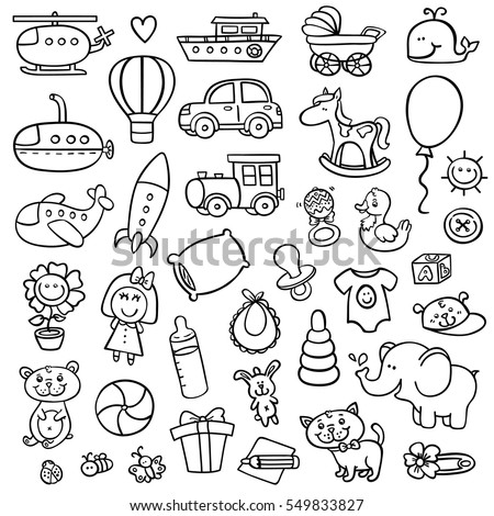 funny baby icons vector doodle