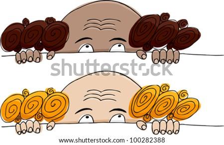 Funny balding man hiding over white background