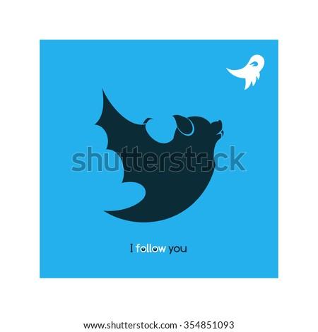 Funny bat, satirical illustration. Vector parody icon, t-shirt template