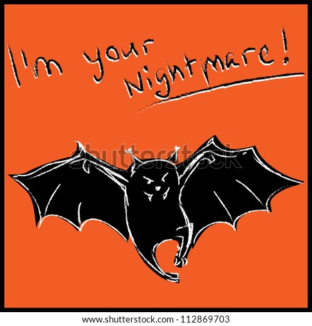 Funny bat with text halloween card. Hand drawing sketch vector illustration