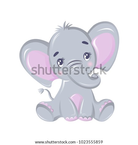 Funny beautiful African elephant. ?ute animal from wild. Cute cartoon elephant, animal from the zoo. Indwelling in Asia and the African lands of savannah, and tropical forests. Vector illustration. Stock fotó ©