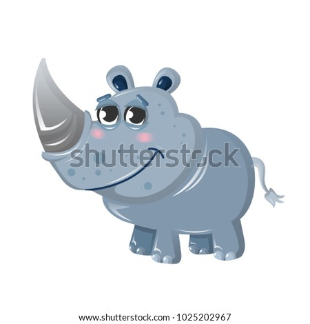 Funny beautiful African rhinoceros. A cute animal from the wild. Cute cartoon rhinoceros, animal from the zoo. Indwelling in Asia and the African lands of savannah. Vector illustration isolated.