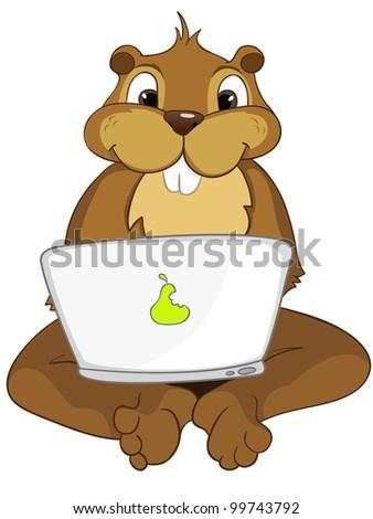Funny Beaver Isolated on White Background