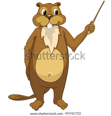 Funny Beaver Isolated on White Background. Vector