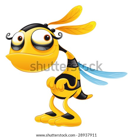 Funny Bee. Funny cartoon and vector isolated character - stock vector