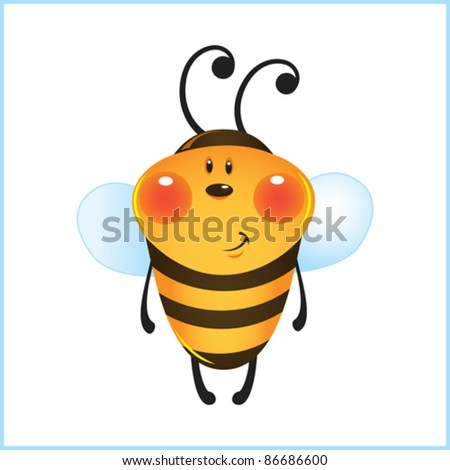 Funny bee in frame. Cartoon illustration