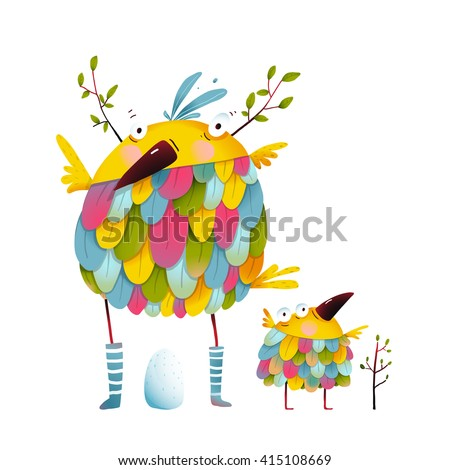 funny bird family mother and