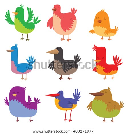funny birds character and