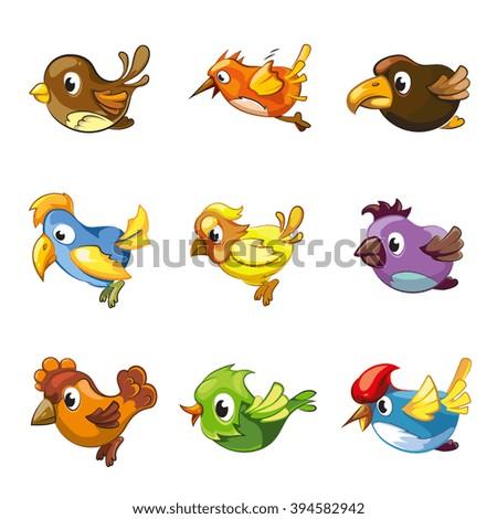 funny birds icons cartoon cute