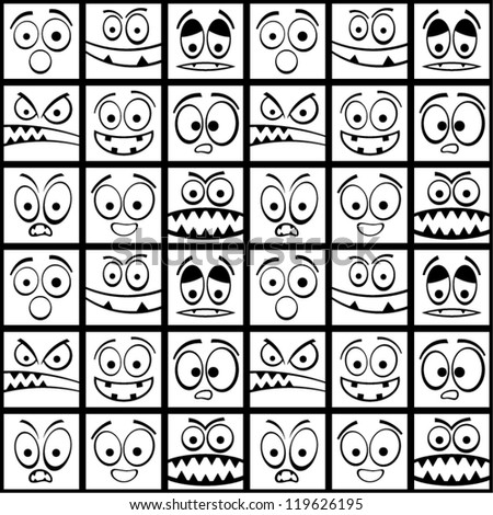 Funny black and white emotions seamless pattern