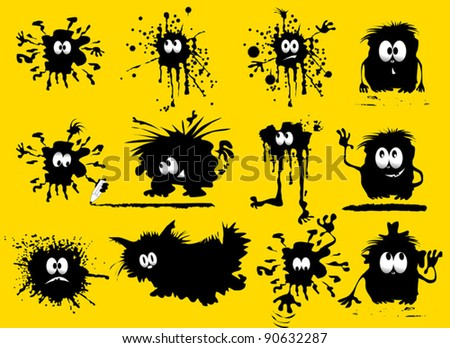 funny black blob in the form of humans and animals (vector illustration);