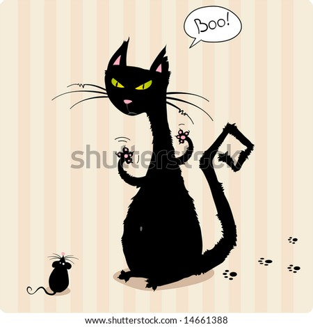 Funny black cat scaring little mouse