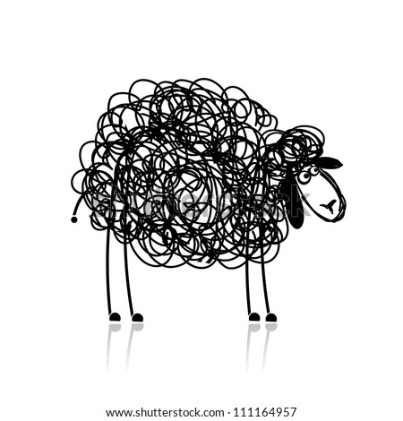 funny black sheep  sketch for