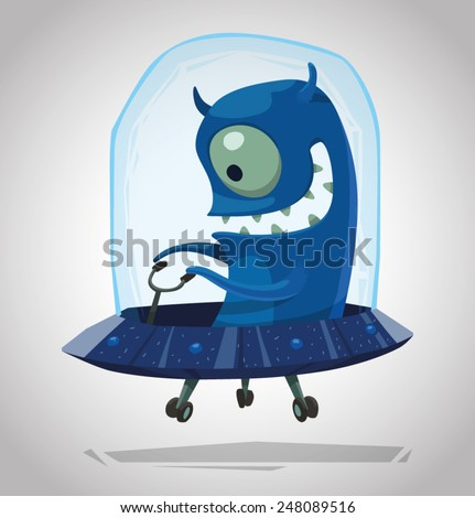 funny blue alien  vector