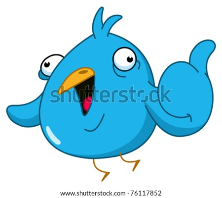 funny blue bird showing thumb up