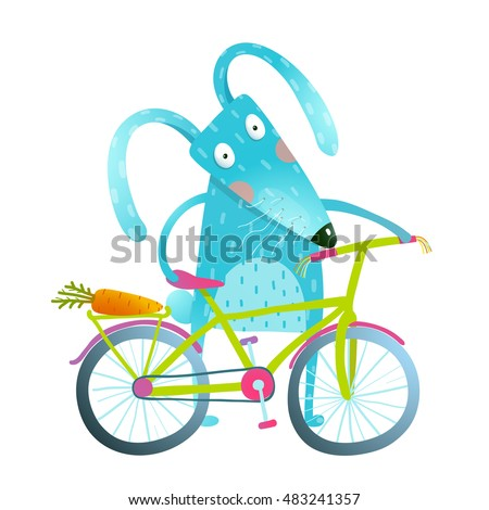 Funny blue bunny with bicycle and carrot in trunk. Cute rabbit bicyclist. Isolated cartoon character for children. Vector illustration