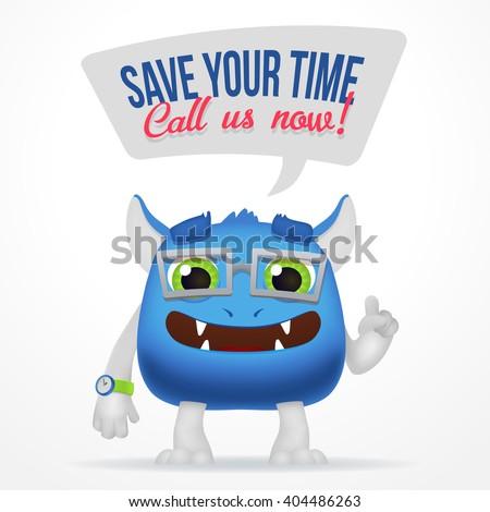 funny blue cartoon alien