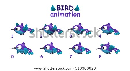 funny blue cartoon bird flying