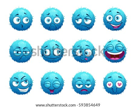 funny blue round characters set