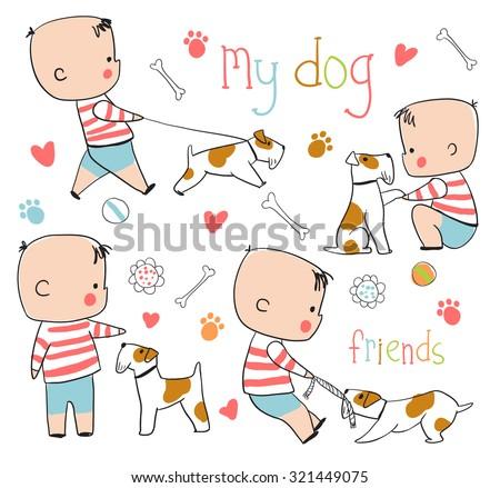 funny boy and dog childish