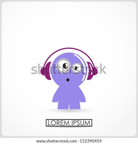 funny boy in headphones