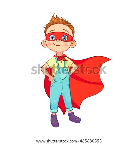 Funny boy in Superhero costume stands with hands on waist in a red mask and developing the wind cloak. Vector cartoon boy character isolated on white background.