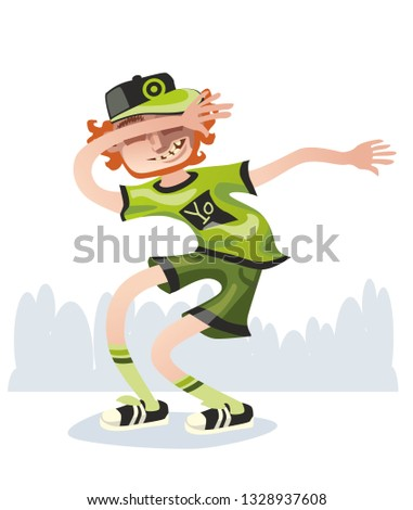 Funny boy make inernet meme isolated on white background. Smiling young men enjoying dance party. Colorful vector illustration in cartoon style