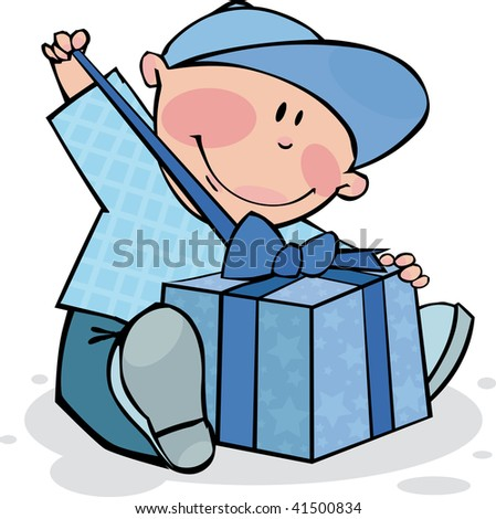 Funny boy opens the gift