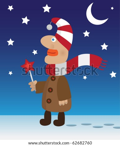 Funny boy with shining star standing on the snow