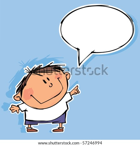 Funny boy with speech bubble