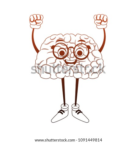Funny brain cartoon with hands up in orange and white colors