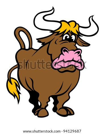 Funny brown bull in cartoon style. Vector illustration