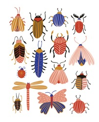 Funny bugs isolated on the white background. Poster with Cute insects. Vector illustration.