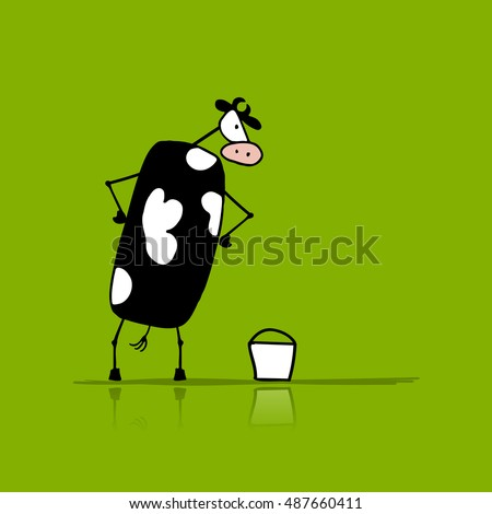 funny bull with buckets of milk