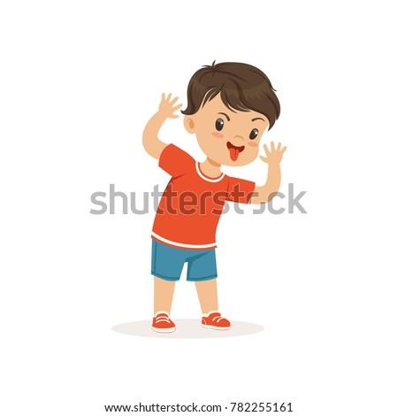 Funny bully boy grimacing, hoodlum cheerful little kid, bad child behavior vector Illustration