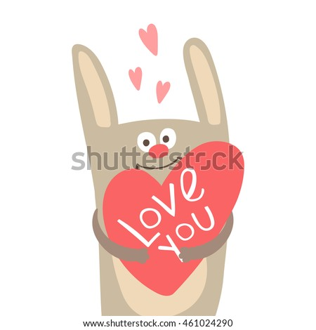 Funny Bunny with Heart and Inscription Love You Vector Illustration can be used as print or card