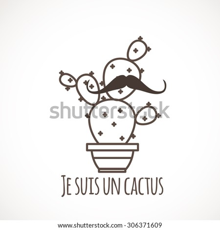 funny cactus with a mustache