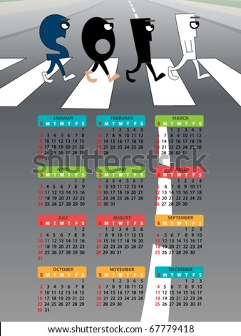 funny calendar design of abbey