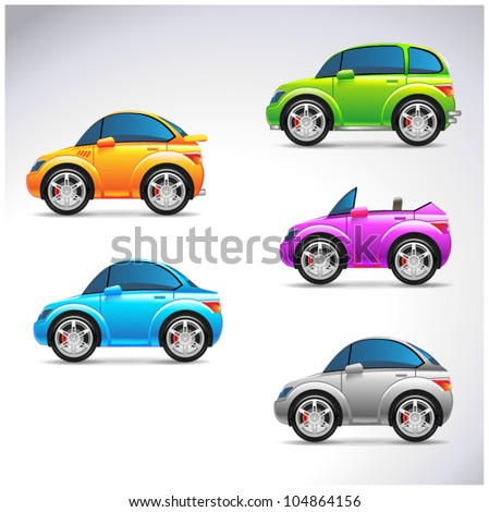 Funny car set icons illustration - stock vector