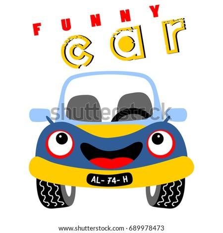 funny car vector cartoon