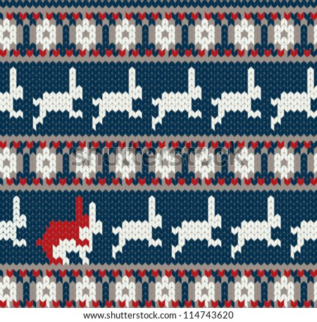 Funny card with two rabbits in love / Norwegian knitted pattern
