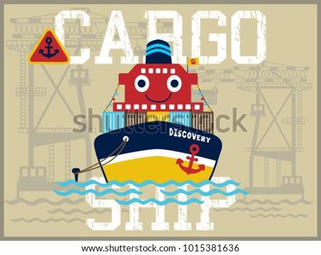 funny cargo ship cartoon vector