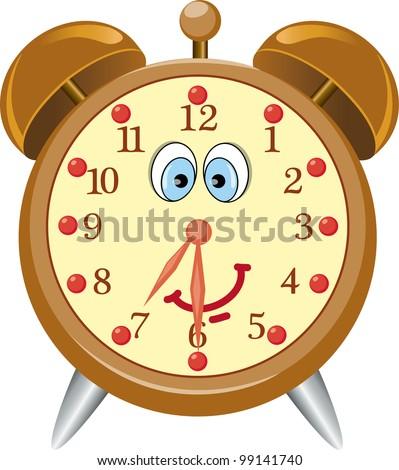 Funny cartoon alarm clock- vector illustration.
