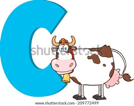 funny cartoon alphabet c with