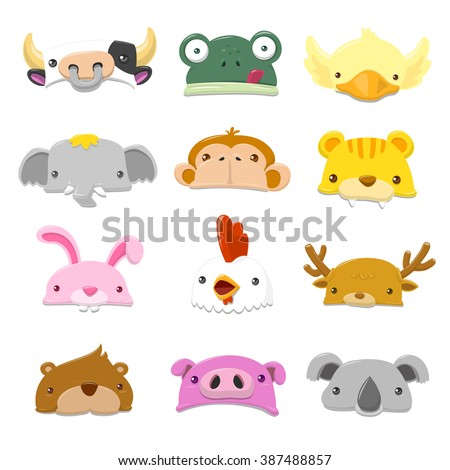 funny cartoon animals hat set