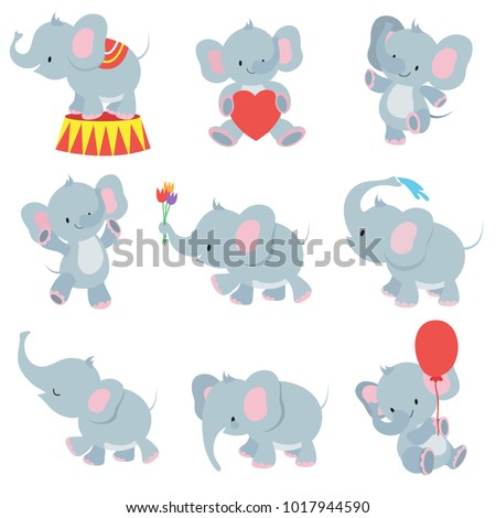 Funny cartoon baby elephants vector collection for kids stickers. Elephant funny character with flower and air balloon illustration
