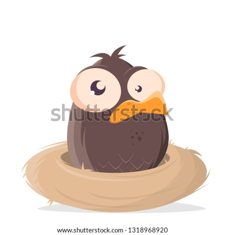 funny cartoon bird sitting in a